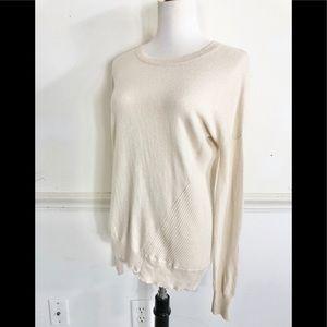 100% Cashmere sweater XS High low hem cream